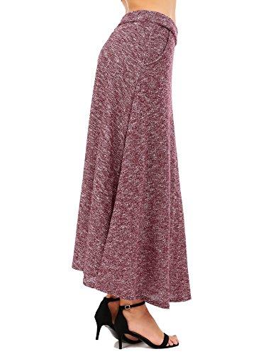 FISOUL De las Mujeres Vintage A-Line Falda Acampanada Cintura Alta Falda Larga Falda Midi Otoño Invierno Vino Rojo M