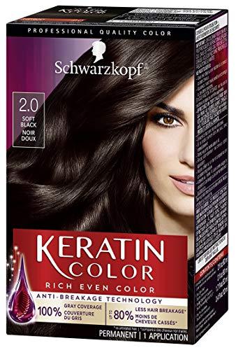 Schwarzkopf Keratin Color Permanent Hair Color Cream, 2.0 Soft Black(Packaging May Vary)