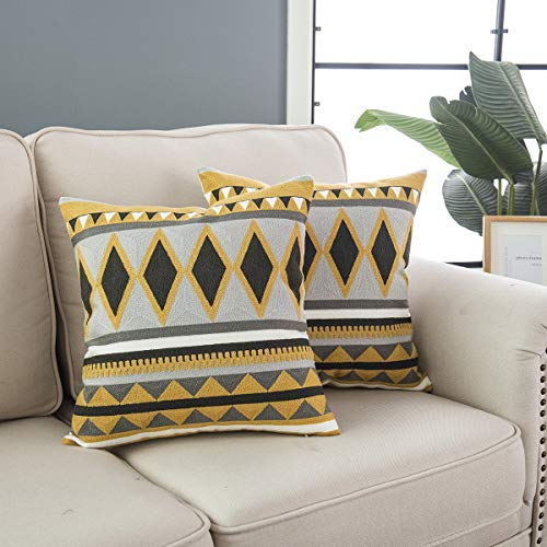 Taisier Home Decorative Square Bohemian Throw Pillow Covers Set Diamond Accent Palace Style Cushion Cases Pillowcases (18 x 18 Inches / 45 x 45 cm; Mustard & Grey) - Pack of 2