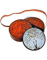 Hanzla Collection - Brújula para reloj de sol (latón envejecido, 7 pulgadas, con funda de cuero, réplica de regalo