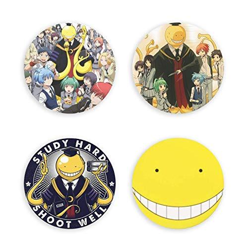 huancheng Abrebotellas magnético de asesinato para aula, diseño de anime redondo, imán decorativo para nevera, insignia multifunción, 4 unidades, hermosos regalos