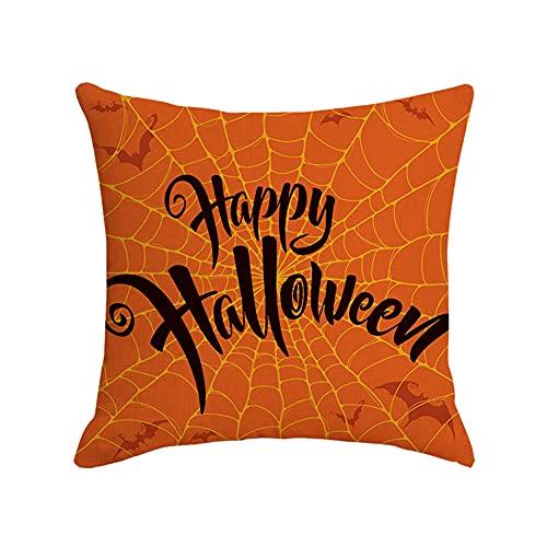 Cxcdxd Fundas de Almohada de Halloween 18 × 18 Pulgadas Decoraciones de tamaño estándar Almohada de Lino para sofá Sofá (se Incluyen Rellenos)