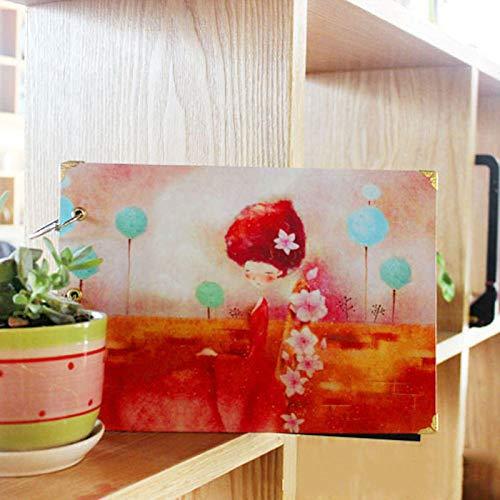 YLXINGMU Album Photo Rétro,Petite Fille New Retro DIY Scrapbook Photo Album Weeding Travel Baby Album Craft Handmade Craft Paper Wedding Memory Photo Album Scrapbook