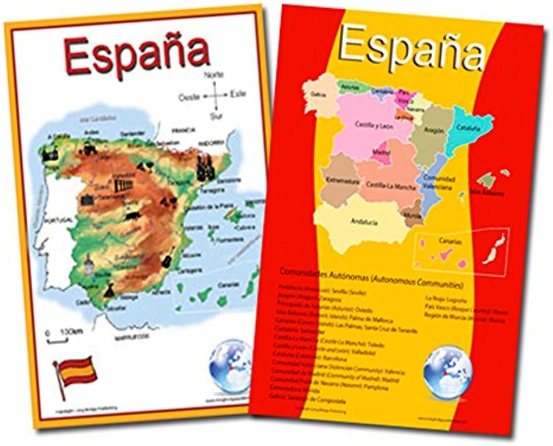 Schule Poster Set – – – 2 Karten von Spanien  vereinfacht Karte und Karte mit Die 17, Gemeinden – Wandtafeln für Zuhause und Klassenzimmer – Spanisch und Englisch Text 11x17 inches B00PKNJ3Z0   Modernes Design  56e5dc