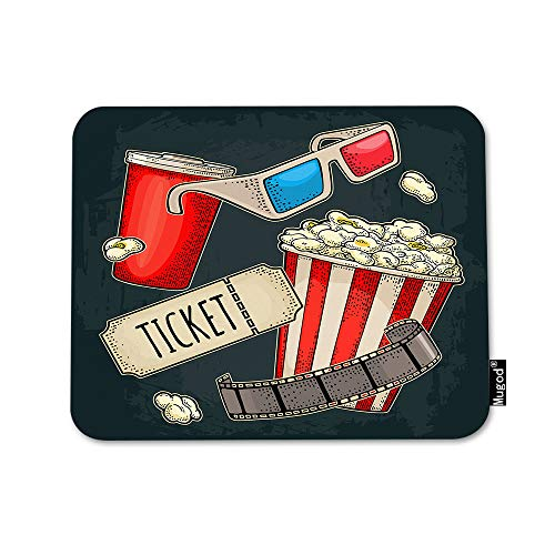 Mugod Cinema Mouse Pad Popcorn Beverages with Straw Ticket Film Strip 3D Color Glasses Mouse Mat Non-Slip Rubber Base Mousepad for Computer Laptop PC Gaming Working Office & Home 9.5x7.9 Inch