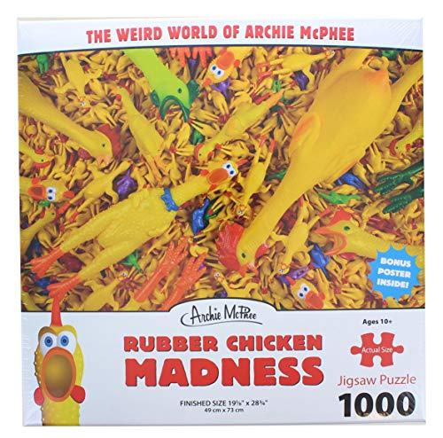 Accoutrements Rubber Chicken Madness Standard Funny Collectible Jigsaw Puzzle  Multicolored