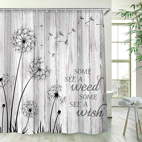 RosieLily Rustic Dandelion Shower Curtain Wish Seeds Shower Curtain Rustic Gray and White Wooden Barnwood Bath Curtain Flower Farmhouse Country Shower Curtain Bathroom Decor 72 Inches