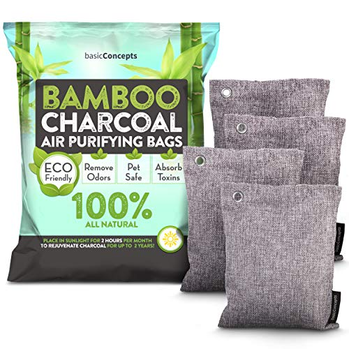 Bamboo Charcoal Air Purifying Bags (4 Pack), Eliminate Bad Odors, Activated Charcoal Odor Absorber (200g), Charcoal Air Freshener Bags for Car, Home, Closet, Gym Bag and more, Charcoal Deodorizer Bags