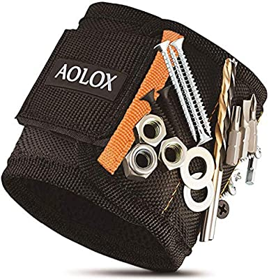 Magnetic Wristband, Magnetic Gadgets for Holding Screws, Nails, Drill Bits,bolts, Best tool Gift Unique Gift for Men, Father/Dad, Husband, Boyfriend, Handyman. Gifts for Christmas. Unique Gifts Idea from AOLOX