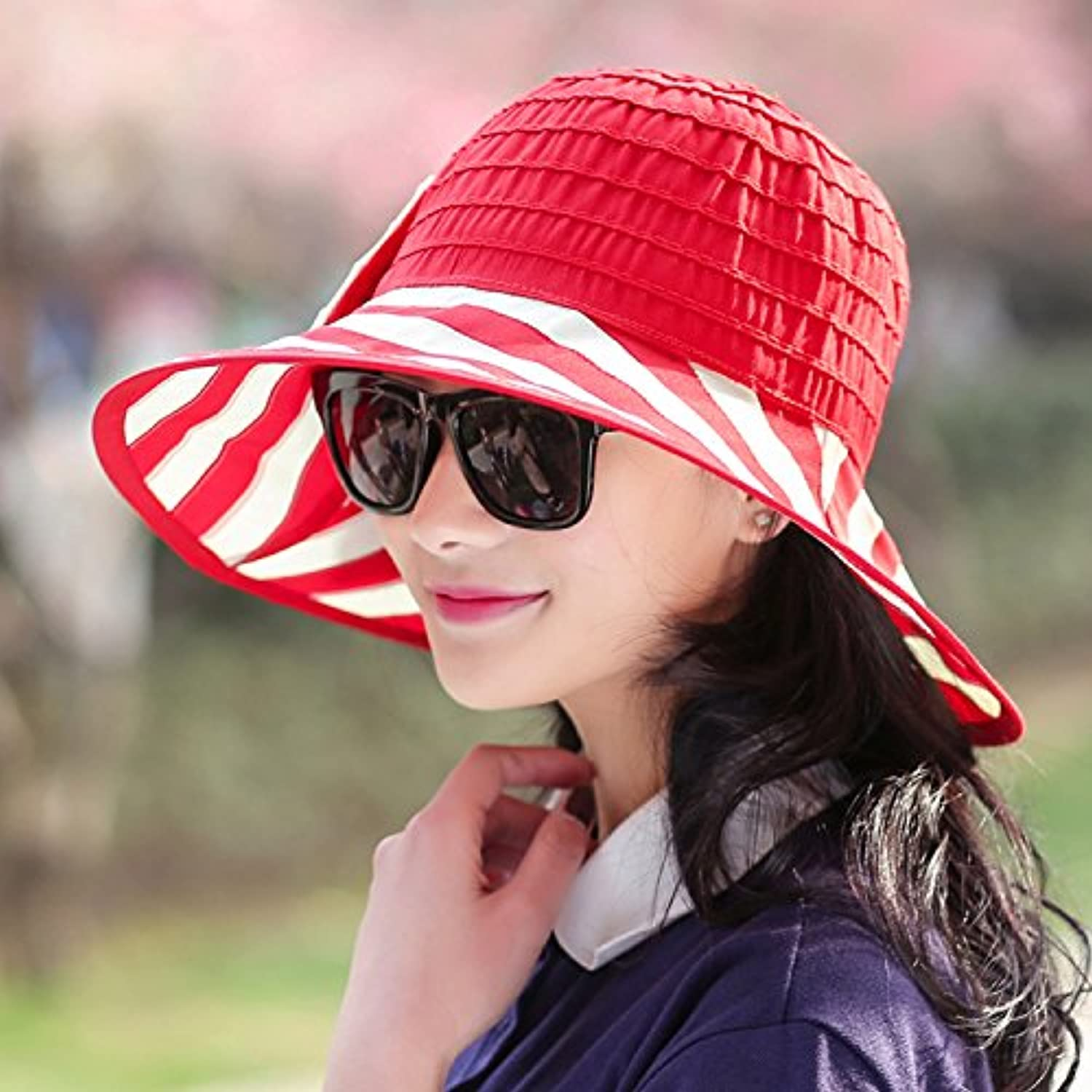LONFENNENRSun Hats Summer uv Sunscreen Beach Cap can be Folded Seaside Large Along The Cap Hats Tour are Code (54-59cm) Red