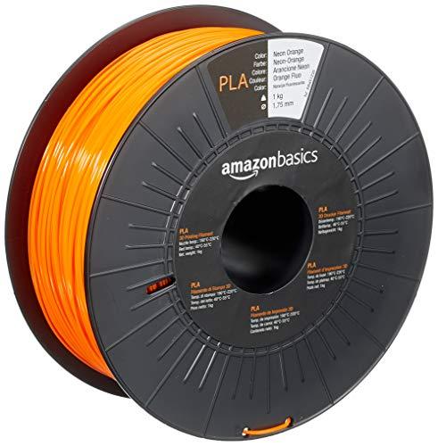 Amazon Basics - Filamento per stampanti 3D, in polilattato (PLA), 1,75mm, arancione neon, 1 kg per bobina