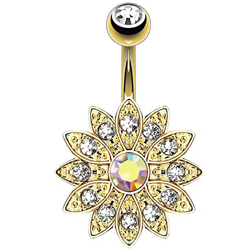 BodyJ4You Belly Button Ring Flower Paved Clear Aurora CZ Crystal 14G Navel...