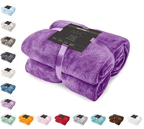DecoKing Kuscheldecke 220x240 cm violett Decke Microfaser Tagesdecke Fleece weich sanft kuschelig Pflaume Violet Plum Mic