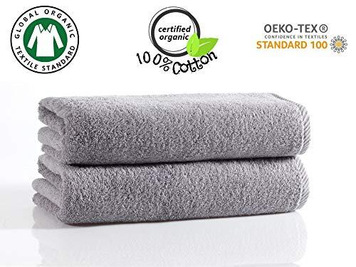 2 Toallas de ducha 100% Algodón orgánico MEJORES OPINIONES Sin Químicos y certificado Oeko Tex