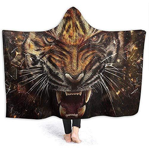 Abstrakte wilde Tiger Mens Hooded Blanket Super Soft Flanell Decke Hoodie tragbare Decke Kapuzen Robe Kapuzenmantel für Bademantel