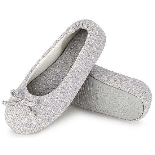 Wishcotton Women's Comfortable Memory Foam Ballerina Slippers Breathable Cotton House Indoor Shoes, 40/41 EU, Grau