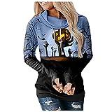 NHNKB Sudadera con capucha para mujer, diseño de Halloween, D azul., M