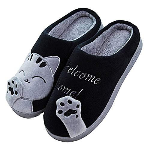 JACKSHIBO Herren Hausschuhe, Warme Plüsch Hausschuhe Indoor rutschfeste Slippers Cartoon Cat Pantoffeln Für Damen, Schwarz, 44/45 EU