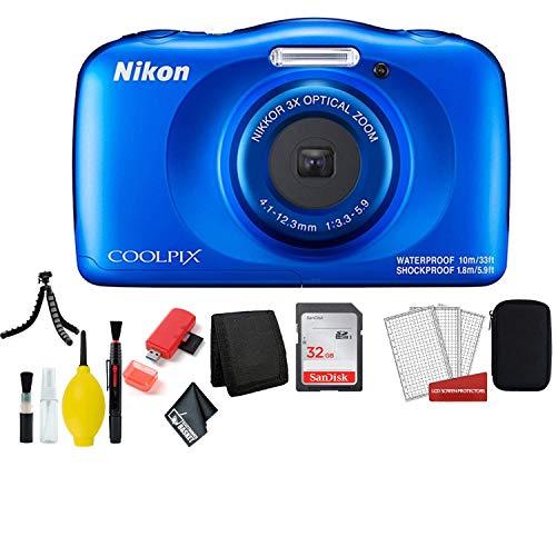 Nikon Coolpix W150 Wi-Fi Rugged Waterproof Digital Camera (Blue) 13.2 MP Bundle with 32GB Sandisk Memory Card + Floating Strap + Carrying Case + More (International Model)