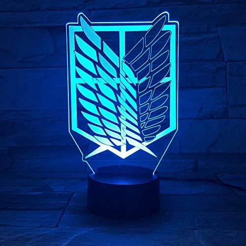 3D-Illusionslicht Led Nachtlicht Anime Flügel Der Freiheit Bunte Blinkende Lichter Usb-Touch-Tischlampe Hauptschlafzimmerdekoration Kindergeschenkspielzeug