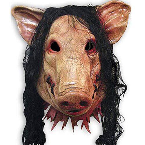 Fyumgl Tierische Gruselmaske Schweinskopf mit schwarzen Haaren Latexmaske Kopf Schwein acht Ring Parodie Horror Perücke,Orange