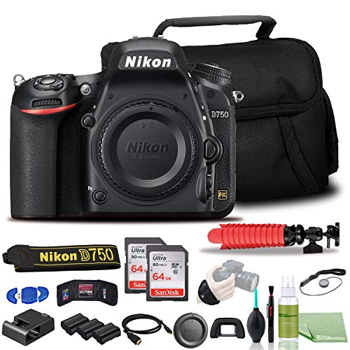 Nikon D750 DSLR Camera - Bundle - (Body Only) USA Model (1543) + 2X EN-EL15 Battery + 2X SanDisk 64GB Card + Case + 12 Inch Flexible Tripod + Deluxe Cleaning Set + HDMI Cable + Hand Strap + More