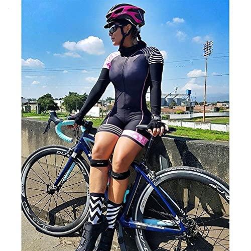 Triathlon frauen radfahren jersey langärmelige sportswear professionelle team berg schwimmen bike träger overall (Color : 8, Size : Large)