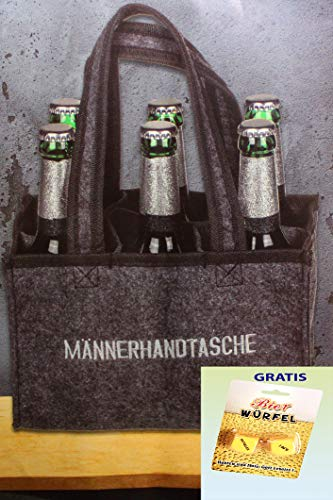 Kamaca MÄNNERHANDTASCHE für 6 Bierflaschen Flaschenträger Flaschenkorb aus Filz inklusive lustigem BIERWÜRFEL Partyspiel Trinkspiel (Männerhandtasche + Bierwürfel Partyspiel)