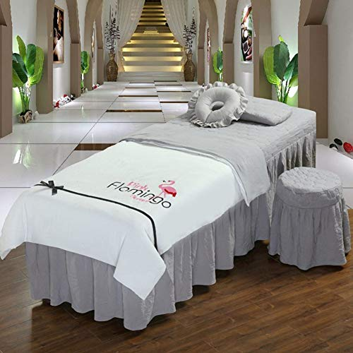 Z IMEI Microfiber Massage Table Sheet Sets Beauty Bed Cover Bed Skirt Sheet with Face Rest Hole Anti-Pilling Massage Table Skirt Pillowcase Beauty Bedspreads Cover-d 80x190cm(31x75inch)