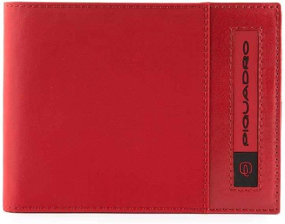 Piquadro pq-bios, porta carte di credito, portafoglio per uomo, in nylon, rosso