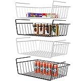 Under Shelf Basket, iSPECLE 4 Pack Wire Rack, Slides Under Shelves For Storage Fridge Cabinet Pantry, Easy to Install Black White