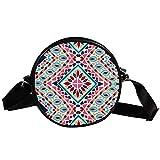 Bolso cruzado redondo pequeño para mujer, diseño azteca