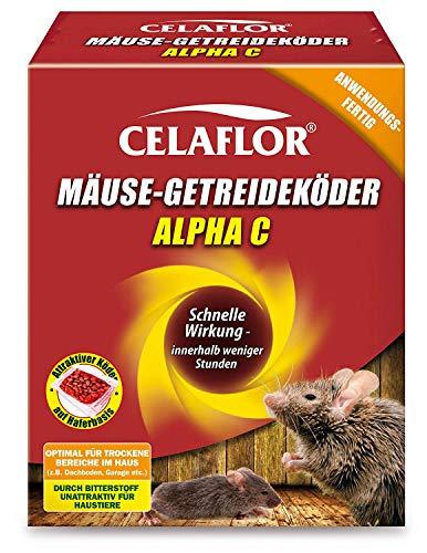 Celaflor Mäuse-Getreideköder Alpha C, Anwendungsfertiger, attraktiver Köder zur Bekämpfung von Mäusen mit innovativem Wirkstoff, 40x 10 g Portionsbeutel