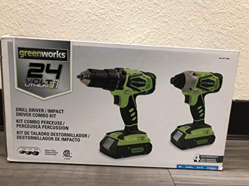 Greenworks CK24B220 24V Lithium MAX Drill Driver / Impact Driver Combo Kit