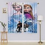 Die Eiskönigin Elsa Verdunkelungsvorhänge, vollständig lichtblockierende Gardinen, energieeffizienter Vorhang für Kinderzimmer, 107 x 160 cm (B x L)