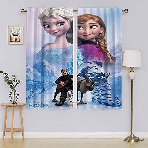 Die Eiskönigin Elsa Verdunkelungsvorhänge, vollständig lichtblockierende Vorhänge, energieeffizienter Vorhang für Kinderzimmer, 107 x 160 cm (B x L)