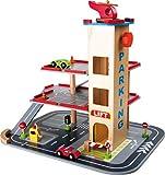 small foot 4777 Parkhaus 'Rasante Abfahrt' aus Holz, mit 3 Etagen, Aufzug und Hubschrauberlandeplatz, ab 3 Jahren