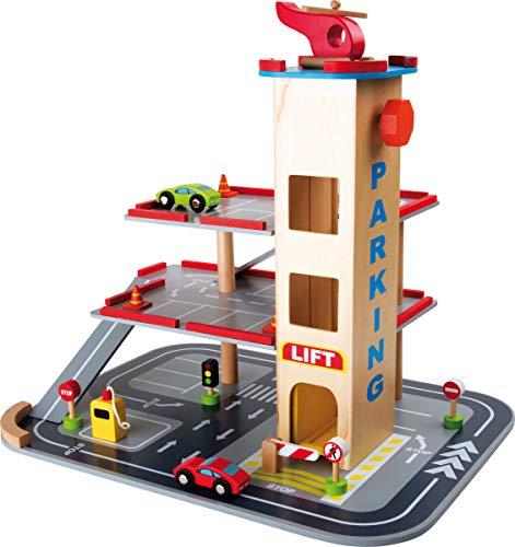 'Aparcamiento 'Abfahrt ultrarrápidas, Park Garaje de madera con 3pisos, Ascensor y helipuerto en el tejado, Juguete (Madera, incluye accesorios de madera (coches, tráfico carteles etc.), a partir de 3años