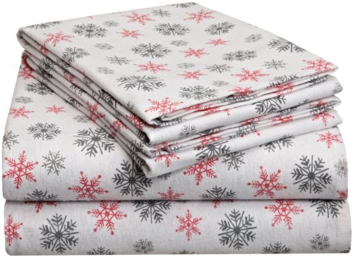 Pointehaven Heavy Weight Printed Flannel Sheet Set, Twin, Snow Flakes White