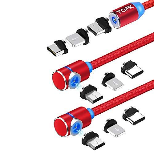 TOPK Magnetisches USB Kabel [3Stück] 3in1 Ladekabel mit LED USB-A zu Blitz Micro USB Typ C Magnet Adapter Nylon Braided Kabel Kompatibel mit Android Smartphone und L-Produkt No Sync Daten(Rot)