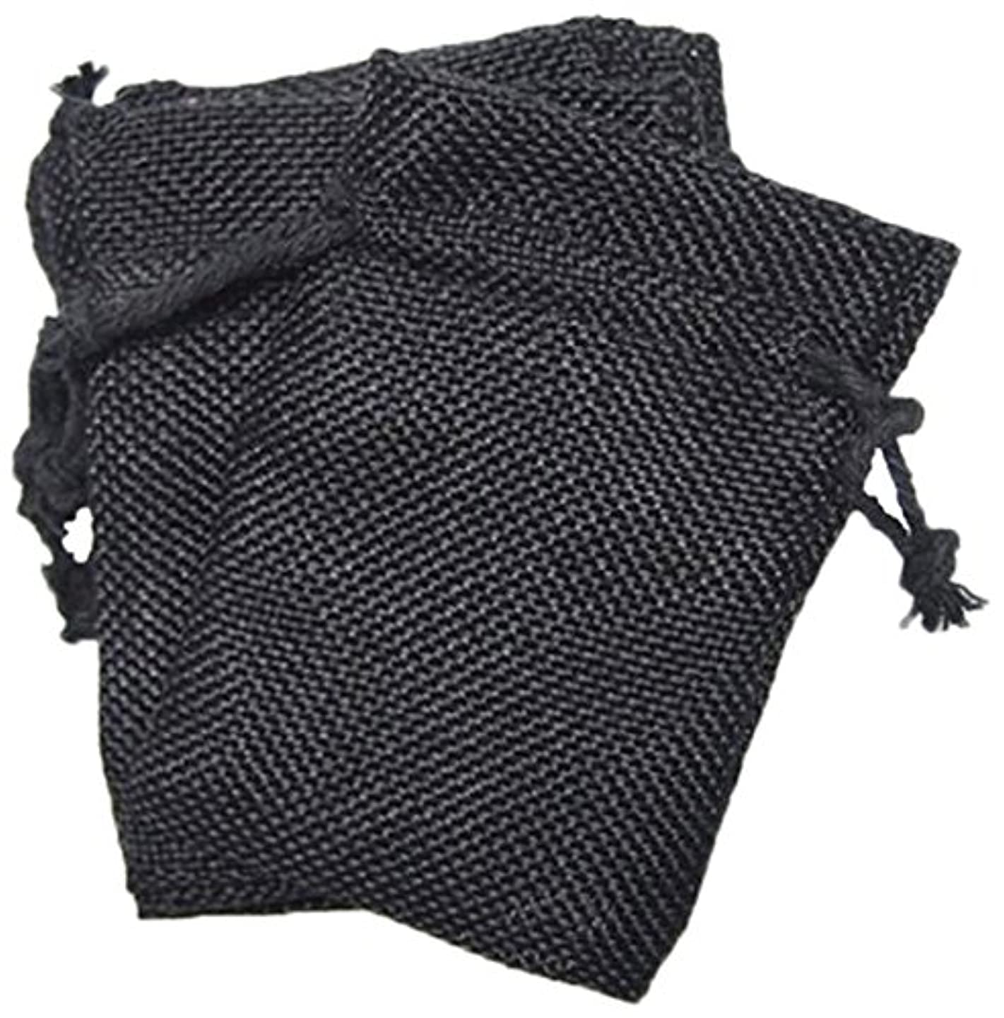 Firefly Imports Homeford Faux Burlap Pouches with Cotton Drawstrings, Black, 6 by 9-Inch