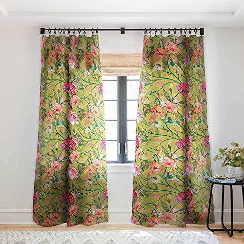 "Society6 83 Oranges Twinning Sheer Curtains, 50"" x 84"", Green"