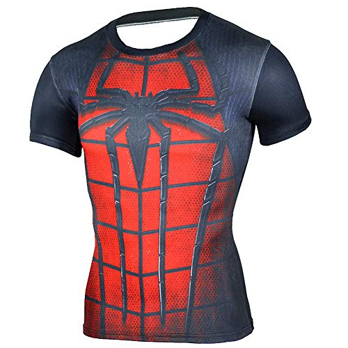HOOLAZA Spiderman Rojo Rojo Hombres Compresión de Manga Corta Camiseta para Hombre Fitness Sport Gy