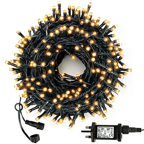WUJUN 105ft 300 LED Christmas Halloween String Lights, End-to-End Plug 8 Modes Memory Function Outdoor Indoor Fairy Lights Christmas Tree, Garden, Party, Wedding, Holiday, Warm White