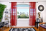 All American Collection Doli Sheer Curtains | Two 54' x 84' Panels (Red Wine)