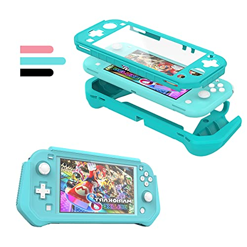 Switch Lite Case Protective Case for Nintendo Switch Lite, Compatible Nintendo Switch Lite Screen Protector Cover Hand Grip Case with Detachable TPU+Built-in PC Screen, Blue