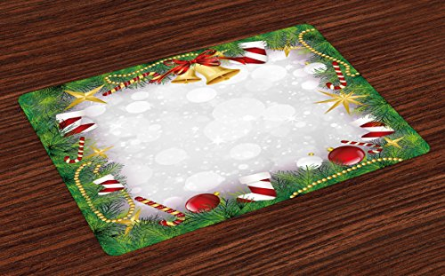 Ambesonne Christmas Place Mats Set of 4, Xmas Eve Carol Theme Frame Pine Spikes Candy Jingle Hand Bells and Ribbon Image, Washable Fabric Placemats for Dining Table, Standard Size, Green Grey