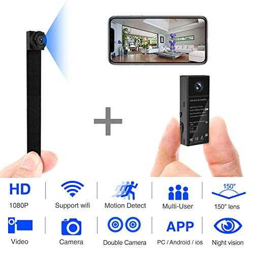 Check Out This Mini Spy Camera 1080P WiFi Hidden Video Camera Wireless Covert Security Cameras 150°...