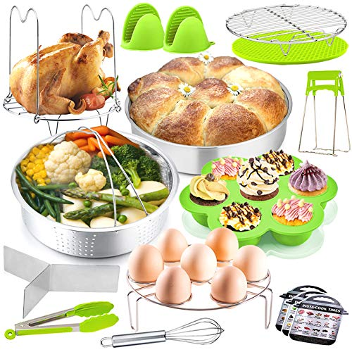 17Pcs Pot Accessories Set for Pressure Cooker, P&P CHEF Instant Steamer Accessory Kit - Steamer Basket, Cake Pan, Egg Bites Mold and More Kitchen Accessories, For Cooking ,Steaming & Serving