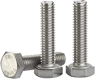 M8-1.25 x 10MM Hex Head Screw Bolt, Fully Threaded, Stainless Steel 18-8, Plain Finish, Quantity 25